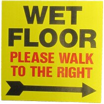 JSP Lamba CLJA042 'Wet Floor Right' Safety Message Label 21cm For Lock-In Sign Holder