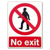 CLMI168  'No Exit' 400x300mm Rigid Plastic Safety Sign