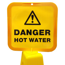 JSP Lamba CLOFF1240 'Danger Hot Water' Safety Message Label 21cm For Lock-In Sign Holder