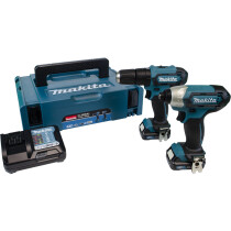 Makita CLX228AJ 12Vmax 2pc Combo Kit CXT with TD110DZ Impact Driver, HP333DZ Combi Drill, 2x BL1021B Batteries, DC10WD Charger & Makpac Carry Case