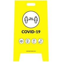 Portwest CV92 Covid A Frame Warning Sign Yellow