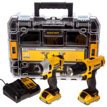 Dewalt DCK211D2T 10.8V Cordless Compact Drill Driver and Impact Driver Twin Pack with 2x 2.0Ah Batteries in TSTACK Case