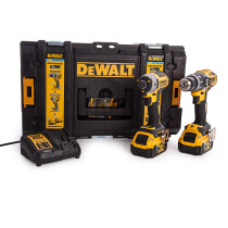 Dewalt DCK2500P2B 18V XR Tool Connect Blue Tooth Brushless DCD797 Hammer Drill Driver + DCF888 Impact Driver with 2x 5.0Ah Batteries in TOUGHSYSTEM Case