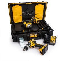 Dewalt DCK266D2 Combi Drill and Impact Driver XR 18V Brushless Kit with 2x 2.0Ah Batteries in TOUGHSYSTEM  Case