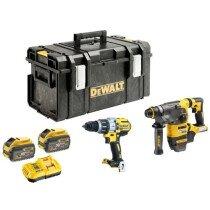DeWalt DCK2033X2 Flexvolt 54V /18V Twinpack SDS+ & Combi Drills with 2 x 9.0Ah Batteries in DS300 Tough System box