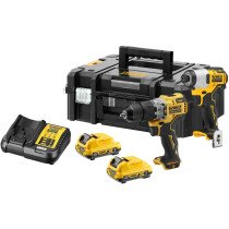 DeWalt DCK2111L2T-GB 12V XR Sub-Compact Twinpack DCD706 & DCF801 with 2 x 3Ah Batteries in TSTAK