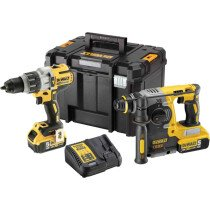 DeWalt DCK229P2T-GB 18V XR Cordless Hammer Drill Kit with 2x 5.0Ah Batteries in a TSTACK Case