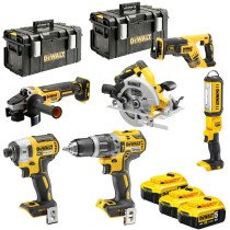 DeWalt DCK623P3 18V XR Brushless Compact 6 Piece Kit with 3x 5.0Ah Batteries and 2x Tough System Kitboxes