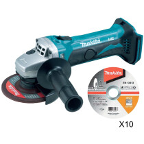 Makita DGA452Z Body Only 18V 115mm Cordless Angle Grinder Plus 10 Thin Cutting Discs