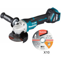 Makita DGA467Z Body Only 18V 115mm Brushless Angle Grinder with 10 x 115mm Thin Cutting Discs