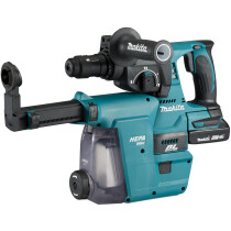 Makita DHR242RTJW 18V Brushless 24mm SDS 3-Function Hammer with 2x 5.0Ah Batteries in Makpac Case with DX06 Dust Extraction System