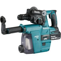 Makita DHR243RMJW 18V Brushless 24mm SDS Hammer with Quick Change Chuck and 2x 4.0Ah Batteres in Makpac Case with DX07 Dust Extraction System