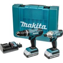 Makita DK18015X1 18v G-Series TwinKit Combi Drill + Impact Driver with 2 Batteries