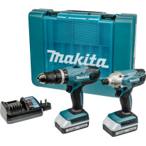 "Makita DK18015X1 18v ""G"" Series TwinKit Combi Drill + Impact Driver with 2 Batteries"