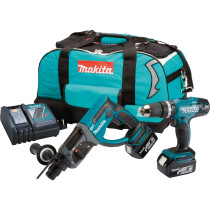 Makita DLX2025M 18V Twinkit SDS Hammer Drill + Combi Drill with 2x 4.0Ah Batteries in LXT Toolbag