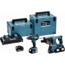 Makita DLX2137PTJ 18V Twin Kit Combi Drill and SDS Rotary Hammer with 4x 5.0Ah Batteries in MakPac Stacking Cases