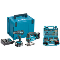 Makita DLX2134TJ 18V Twin Kit Combi drill and Jigsaw with Accessory Set and 2x 5.0Ah Batteries in MakPac Stacking Case