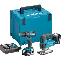 Makita DLX2134MJ 18V Twin Kit Combi drill and Jigsaw with 2x 4.0Ah Batteries in MakPac Stacking Case