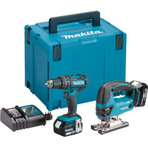 Makita DLX2134TJ 18V Twin Kit Combi drill and Jigsaw with 2x 5.0Ah Batteries in MakPac Stacking Case