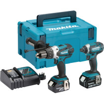 Makita DLX2145TJ 18V Twinkit Combi drill + Impact Driver with 2x 5.0Ah Batteries in MakPac Stacking Case