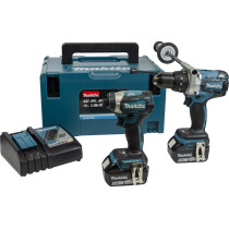 Makita DLX2176TJ 18V Brushless Twin Kit with 2x 5.0Ah Batteries in MakPac Stacking Case