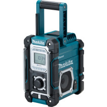 Makita DMR108 Body Only Jobsite AM/FM Radio with Bluetooth, Mains or Cordless Operation,  Blue Colour