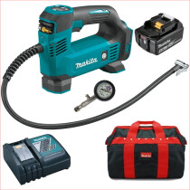 Makita DMP180Z 18v Inflator with Battery, Fast Charger, Tyre Pressure Gauge and Toolbag