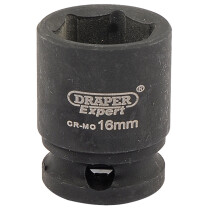 "Draper 06876 409-MMC Expert 16mm 3/8"" Square Drive Hi Torq 6 Point Impact Socket"
