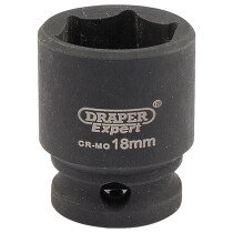 "Draper 06878 409-MMC Expert 18mm 3/8"" Square Drive Hi Torq 6 Point Impact Socket"