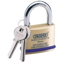 Draper 64162 8302/50 50mm Solid Brass Padlock with 2 Keys and Bumper