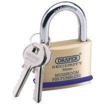 Draper 64162 8302/50 50mm Solid Brass Padlock And 2 Keys With Mushroom Pin Tumblers H...