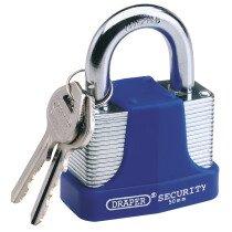 Draper 64182 8308/50 50mm Laminated Steel Padlock And 2 Keys With Hardened Steel Shac...