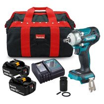 """Makita DTW300TX2 18v 1/2"""" SQ/DR Impact Wrench 330Nm with 2 x 5Ah Batteries, Socket and Charger in Toolbag"""