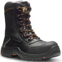 V12 Vtech E1300.01 Defiant Black High Leg Zip Side Safety Boot HRO S3 SRC