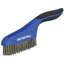 Faithfull FAISB164SS Scratch Brush Soft Grip 4 x 16 Row Stainless Steel