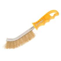 Faithfull FAIWBHANDB Wire Scratch Brush Brass - Yellow Handle