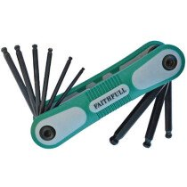 Faithfull FAIHKSF9AFB Folding Hex Key Set 9 Ball End Imperial (5/64 - 1/4in)