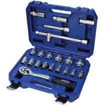 Faithfull 121022N1 Socket Set 22 Piece Metric 1/2in Drive FAISOC1222MN