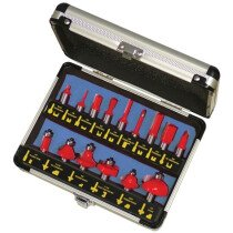 Faithfull FAIRBS15 Router Bit Set of 15 TCT Pieces 1/2in Shank
