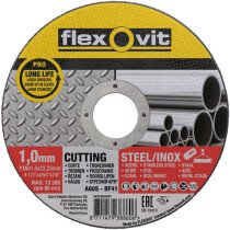 Flexovit 66252920407 A 60 S-BF41 Flat Metal Cutting Disc Pro Inox 115 x 1.0 x 22.2mm