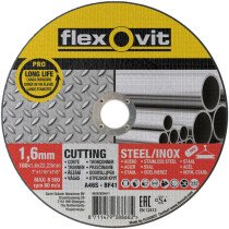 Flexovit 66252920411 A 46 S-BF41 Pro Inox Flat Metal Cutting Disc180 x 1.6 x 22.2mm