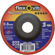 Flexovit 66252833241 MegaLine Depressed Centre Ultra Thin DPC 115mm x 0.8mm Cutting Disc