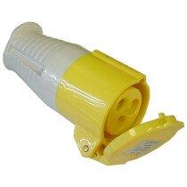 Faithfull FPPCOUP110 Covered Yellow Female Socket 110 Volt 16amp