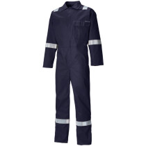 Dickies FR24/7TP Flame Retardant Antistatic Everyday Coverall Boiler Suit Stud Front with Reflective Tape ISO15797