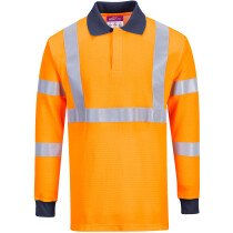 Portwest FR76 Flame Resistant Hi-Vis RIS Polo Shirt Modaflame HVO Knit High Visibility - Orange