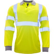 Portwest FR77 Flame Resistant Anti-Static Hi-Vis Long Sleeve Polo Shirt - Yellow