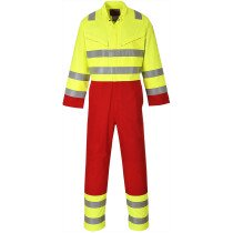 Portwest FR90 FR Bizflame Services Coverall Flame Resistant  - Hi Vis Yellow and Red