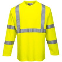 Portwest FR96 Hi-Vis Flame Resistant Long Sleeve T-Shirt - High Visibility - Yellow