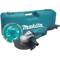 "Makita GA9020KD 9"" 240V 2000W (230mm) Angle Grinder with 9"" Diamond Wheel in Moulded Carrycase"