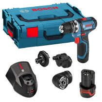 Bosch GSR 12V-15 FC 12V Flexiclick Drill/Driver with Accessory Set and 2x 2.0Ah Batteries in L-Boxx